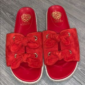 Vince Camuto Red Jazzan Slides size 9.5